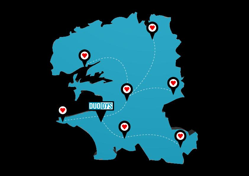 Carte Finistère - Contact et prise de rendez-vous - Duodys